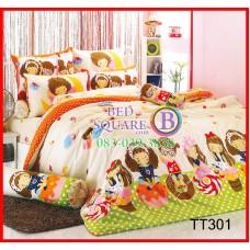 ผ้าปูที่นอนผ้านวมลายการ์ตูนเด็กผู้หญิงพื้นเขียวขาวชุดเครื่องนอน TOTO