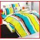 ลายยกเลิก - ผ้าปูที่นอนผ้านวมลายทางสีเหลือง ฟ้า ส้ม น้ำตาล ขาว ชุดเครื่องนอน TOTO