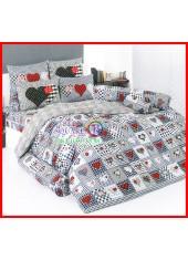 ลายยกเลิก - ผ้าปูที่นอนผ้านวมลายหัวใจแดงดำ ตารางลายสก๊อต ชุดเครื่องนอน TOTO