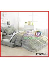 ผ้าปูที่นอนผ้านวมลายชิโนริ ตารางเล็ก สีน้ำตาลชุดเครื่องนอน TOTO