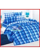 ลายยกเลิก - ผ้าปูที่นอนผ้านวมลายตารางสก๊อต สีฟ้าน้ำเงิน ไล่โทนสี TOTO