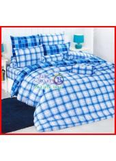 ลายยกเลิก - ผ้าปูที่นอนผ้านวมลายตารางสก๊อต สีฟ้าอ่อน ไล่โทนสี TOTO