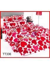 ผ้าปูที่นอนผ้านวมลายหัวใจสีแดงชมพู พื้นขาว ชุดเครื่องนอน TOTO