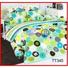 ผ้าปูที่นอนผ้านวมลายวงกลมคละแบบ คละสี พื้นสีเขียว ชุดเครื่องนอน TOTO