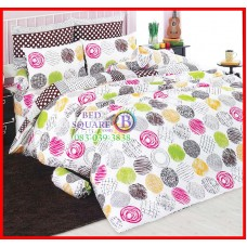 ลายยกเลิก - ผ้าปูที่นอนผ้านวมลายวงกลมหลากสี พื้นสีขาว ชุดเครื่องนอน TOTO