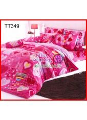 ผ้าปูที่นอนผ้านวมลายหัวใจสีชมพูในตารางพื้นสีบานเย็นชุดเครื่องนอน TOTO