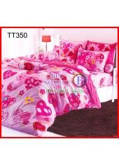 ผ้าปูที่นอนผ้านวมลายหัวใจสีชมพูพื้นสีชมพูอ่อนชุดเครื่องนอน TOTO