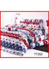 ผ้าปูที่นอนผ้านวมลายทาง สีแดง ขาว เทา วงกลมชุดเครื่องนอน TOTO