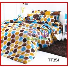 ผ้าปูที่นอนผ้านวมวงกลมลายเล็กสีน้ำตาล ฟ้า ดำพื้นขาวชุดเครื่องนอน TOTO