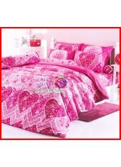 ลายยกเลิก - ผ้าปูที่นอนผ้านวมลายหัวใจสีชมพูเครื่องนอนสำหรับคู่รักคู่แต่งงาน