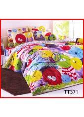 ผ้าปูที่นอนผ้านวมลายการ์ตูนแมวหน้ากลมหลากสี แดง เขียว เหลือง ฟ้า