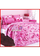 ลายยกเลิก - ผ้าปูที่นอนผ้านวมลายช่อดอกกุหลาบ ริบบิ้น โทนสีชมพู เครื่องนอน TOTO