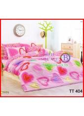ผ้าปูที่นอนผ้านวมลายหัวใจใหญ่สีหวาน พื้นสีชมพูชุดเครื่องนอน TOTO