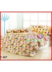 ผ้าปูที่นอนผ้านวมลายการ์ตูนเด็กผู้หญิงเต้นบัลเล่ต์สีน้ำตาลตัวเล็กชุดเครื่องนอน TOTO