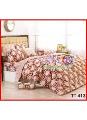 ผ้าปูที่นอนผ้านวมลายห่วงวงกลม สีดำ แดง ขาว โทนสีน้ำตาล ชุดเครื่องนอน TOTO