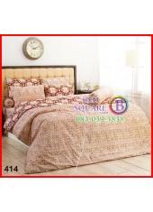 ผ้าปูที่นอนผ้านวมลายใบพัด กลีบดอกไม้ โทนสีน้ำตาล ชุดเครื่องนอน TOTO