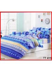 ผ้าปูที่นอนผ้านวมลายห่วงวงกลม ลายทาง สีน้ำเงิน ฟ้า สีสด ชุดเครื่องนอน TOTO