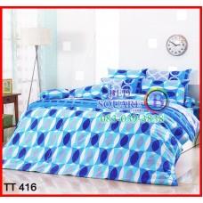 ผ้าปูที่นอนผ้านวมลายห่วงวงกลม สีน้ำเงิน ฟ้า สีสด ชุดเครื่องนอน TOTO