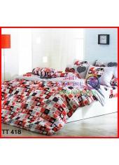 ผ้าปูที่นอนผ้านวมลายหัวใจสีขาว แดง ตารางไพ่ดอกเล็ก ชุดเครื่องนอน TOTO