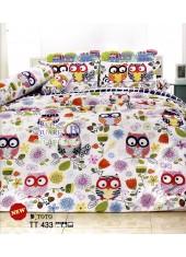 ผ้าปูที่นอนผ้านวมลายการ์ตูนนกฮูก TT433 ชุดเครื่องนอน TOTO
