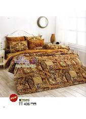 ผ้าปูที่นอนผ้านวมลายกราฟฟิค โทนสีน้ำตาลเข้ม TT436 ชุดเครื่องนอน TOTO