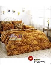 ผ้าปูที่นอนผ้านวมลายกราฟฟิค โทนสีน้ำตาลเข้ม TT437 ชุดเครื่องนอน TOTO
