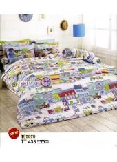 ผ้าปูที่นอนผ้านวมลายการ์ตูนบ้านเมืองต่างประเทศสีขาว TT438 ชุดเครื่องนอน TOTO
