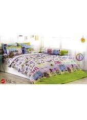 ผ้าปูที่นอนผ้านวมลายการ์ตูนบ้านเมืองต่างประเทศสีขาว TT439 ชุดเครื่องนอน TOTO