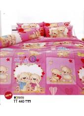 ผ้าปูที่นอนผ้านวมลายการ์ตูนหมี พื้นชมพู TT440 ชุดเครื่องนอน TOTO