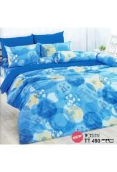 ผ้าปูที่นอนผ้านวมลายวงกลมคละสีลายดอกไม้ โทนสีฟ้าน้ำเงิน ชุดเครื่องนอน TOTO