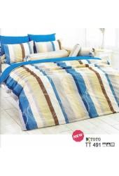 ผ้าปูที่นอนผ้านวมลายทางน้ำเงิน เหลือง น้ำตาล ขาว ไล่โทนสี ชุดเครื่องนอน TOTO