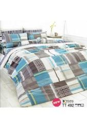 ผ้าปูที่นอนผ้านวมลายตารางสีเหลี่ยมสีน้ำตาลฟ้า ไล่โทนสี ชุดเครื่องนอน TOTO
