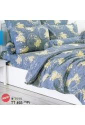 ผ้าปูที่นอนผ้านวมลายดอกกุหลาบเหลือง โทนสีเทาเข้ม ชุดเครื่องนอน TOTO