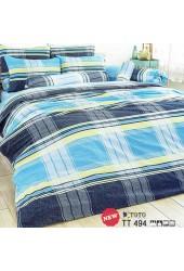 ผ้าปูที่นอนผ้านวมลายตารางใหญ่ฟ้า น้ำเงินเข้ม ไล่โทนสี ชุดเครื่องนอน TOTO