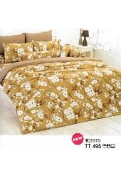 ผ้าปูที่นอนผ้านวมลายดอกซากุระ พื้นสีน้ำตาลชุดเครื่องนอน TOTO