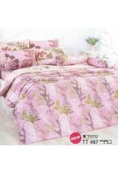 ผ้าปูที่นอนผ้านวมลายรูปวาดดอกไม้ลายเส้นคละสี พื้นสีชมพูชุดเครื่องนอน TOTO