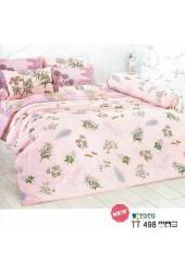 ผ้าปูที่นอนผ้านวมลายรูปวาดดอกไม้ลายเส้น คละสี พื้นสีโอรสชุดเครื่องนอน TOTO