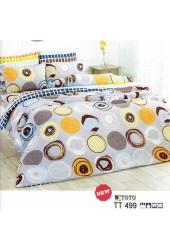 ผ้าปูที่นอนผ้านวมลายวงกลมคละแบบ คละสี พื้นสีเทาชุดเครื่องนอน TOTO