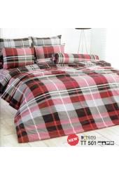 ผ้าปูที่นอนผ้านวมลายตารางแดงดำ ไล่โทนสีชุดเครื่องนอน TOTO