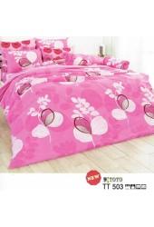 ผ้าปูที่นอนผ้านวมลายดอกไม้สีขาว พื้นสีชมพูชุดเครื่องนอน TOTO