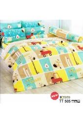 ผ้าปูที่นอนผ้านวมลายตารางการ์ตูนรูปสัตว์ คละสีชุดเครื่องนอน TOTO