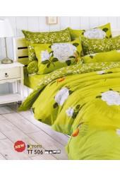 ผ้าปูที่นอนผ้านวมลายดอกกุหลาบขาว พื้นสีเขียวชุดเครื่องนอน TOTO
