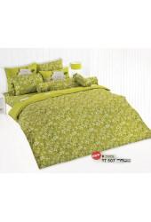 ผ้าปูที่นอนผ้านวมลายดอกเล็กขาว พื้นสีเขียวชุดเครื่องนอน TOTO