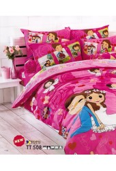 ผ้าปูที่นอนผ้านวมลายคู่แต่งงาน โทนสีช็อคกิ้งพิ้ง shocking pink ชุดเครื่องนอน TOTO