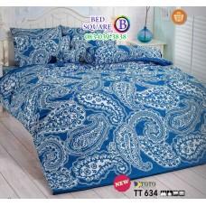 ผ้าปูที่นอนผ้านวมลายกราฟฟิค โทนสีฟ้า TT634 ชุดเครื่องนอน TOTO