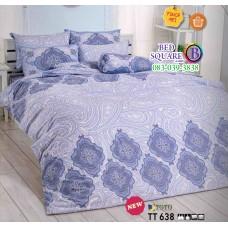 ผ้าปูที่นอนผ้านวมลายกราฟฟิคลายไทย โทนสีฟ้า ขาว TT638 ชุดเครื่องนอน TOTO
