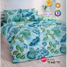 ผ้าปูที่นอนผ้านวมลายใบไม้ โทนสีเขียว TT640 ชุดเครื่องนอน TOTO