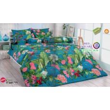ผ้าปูที่นอนผ้านวมลายดอกไม้ โทนสีฟ้า TT641 ชุดเครื่องนอน TOTO