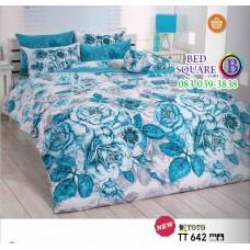 ผ้าปูที่นอนผ้านวมลายดอกไม้ โทนสีขาว ฟ้า TT642 ชุดเครื่องนอน TOTO