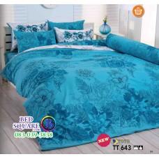 ผ้าปูที่นอนผ้านวมลายดอกไม้ โทนสีฟ้า TT643 ชุดเครื่องนอน TOTO